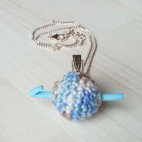 Small jewelry pendant: ball of yarn with mini hook, gift for crocheter