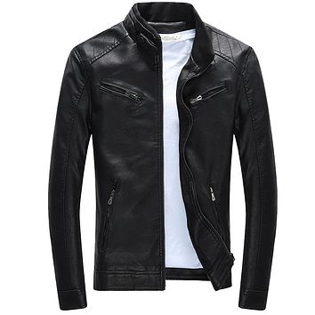 Autumn Men Motorcycle Stand Collar Slim Fit Leather Jacket
