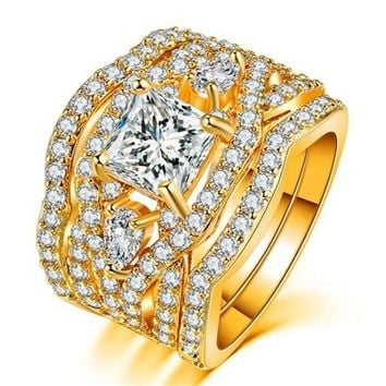 Round Cut Zircon Stone 2 Color Silver&Gold Party Ring