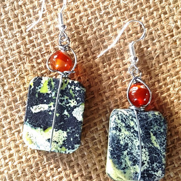 Red Agate & Yellow/Charcoal Marble Drop
