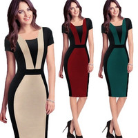 Winter &Autumn Long full Sleeve dress 2014 Colorblock Women office work business Rockabilly Bodycon Business Casual Midi party Pencil Dresses JY-302-03 [9222191556]