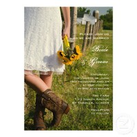 Bride, Boots and Sunflowers Country Wedding Invite from Zazzle.com