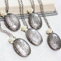 Antique Silver Locket Necklace Cream Off White Rose Charm Pendant Vintage Style Wedding Photo Locket Keepsake Jewellery Bridesmaids Gift