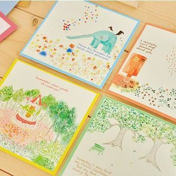 8 set/lot Kawaii Cartoon Envelope + Letter Papers Corlored Cute Animal Writing Paper Korean Stationery Wholesale Free Shipping