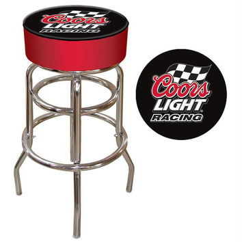 Coors Light Racing Logo Padded Bar Stool - Made In USA
