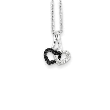 Small Black & White Diamond Double Heart Necklace in Sterling Silver