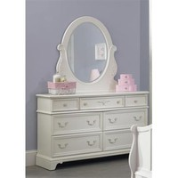 Liberty Furniture Arielle Dresser & Mirror in Antique White Finish