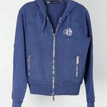 DSQUARED2 Womens Faded Blue Cotton Stretch Zipper Hoodie Sweatshirt Sz S RP $555