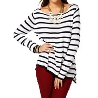 IvoryBlack Stripe Zipper Back Sweater