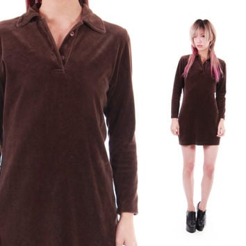 90s Brown Velour Velvet Long Sleeved Mini Dress Collared Wednesday Addams Goth Hipster Dress Womens Clothing Size Small