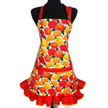 Retro Kitchen Apron for Women , Orange and Yellow Chrysanthemums with matching Ruffle , Floral Kitchen Decor