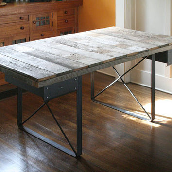 ON SALE - desk from reclaimed wood with recycled-content x-brace steel legs and no drawers - island barn modern industrial