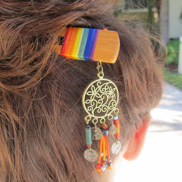 Handmade charm wooden hair sticks with colorful stripes and bead tassels, tribal jewelry