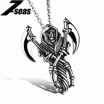 Hiphop Hell Devil Double Anchor Pendant Necklace For Man Cool Stainless Steel Men Jewelry,JM972