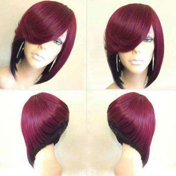 Short Side Parting Colormix Straight Inverted Bob Synthetic Wig - Black  And  Wine Red | Fwresh Beauty