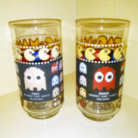 Two Vintage 1980 Pac Man Glasses, PacMan Glasses, Pac Man Tumblers, 1980 Bally Midway Pac Man, Shadow & Pokey, Vintage Video Games, Arcade