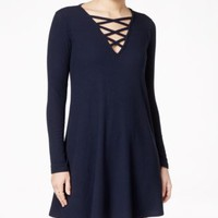 Material Girl Juniors' Long-Sleeve Lattice Shift Dress, Only at Macy's | macys.com