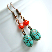 scarab drop earrings, aqua orange, czech glass, dangle, copper, french hook, beetle, boho, bohemian