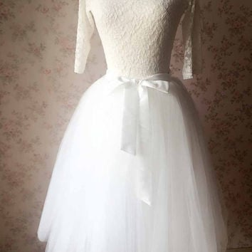 White Skirt Women Full Tea length tulle skirt white Princess skirt Wedding tutus dress, White wedding - Plus size - custom