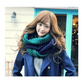 Men Women Snood Infinity 2 Circle Cable Knit Cowl Neck Long Scarf Shawl 7_S = 1905760132