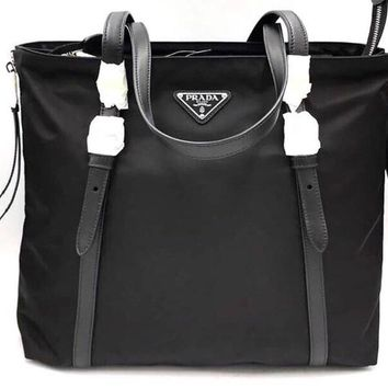 038600255e73f1 Prada Black Tessuto Nylon Soft Calf Leather Trim Shopping Tote H