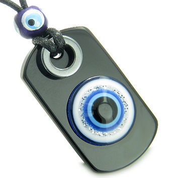 Amulet Evil Eye Reflection Protection Spiritual Dog Tag Black Agate Hematite Pendant Necklace