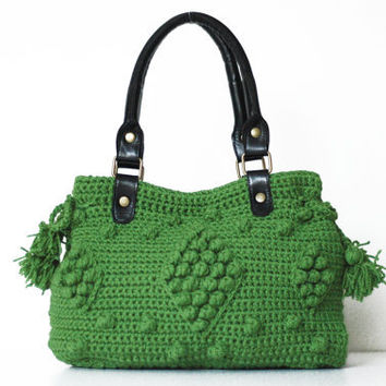 SALE %20 / Green handbag- Celebrity Style With Genuine Leather Straps / Handles-crochet bag-shoulder bag-hand made