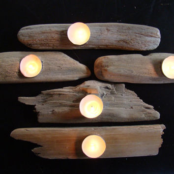 Driftwood tea light holder set of 5 by TheGoAwayWoodshop on Etsy