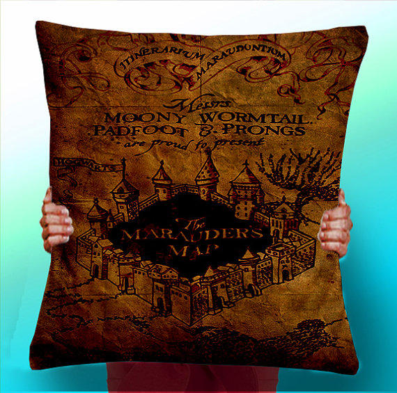 Harry Potter Book Cover Fabric ~ Harry potter marauders map cushion from