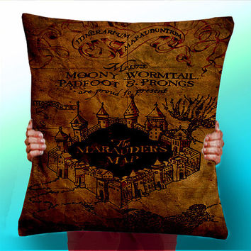 Harry Potter Marauders Map - Cushion / Pillow Cover / Panel / Fabric