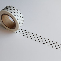 Polka dot washi tape, Spotty Planner tape, Black and White Giftwrap