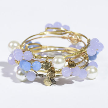 Ships Free! Periwinkle/Blue/Lavender Beaded Wire-Wrapped Bracelet (Bourbon and Bowties Inspired) - Popular Gift Idea!
