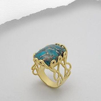 Ella Bold 18K Yellow Gold Plated Brass Copper Turquoise Ring