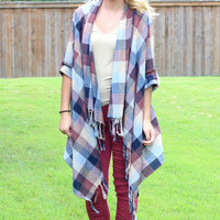 Checkered Plaid Frayed Shawl Cardigan {Maroon+Navy}