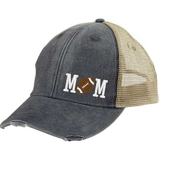Football Mom Distressed Snapback - off-center