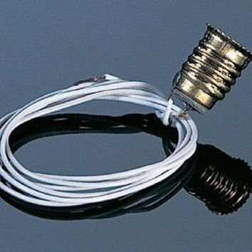 "Screw-Base Bulb Socket w/8"" Black Wires #CK1010-8"