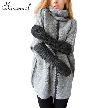 Simenual Winter new vintage turtleneck sweater knit long pullover female patchwork fashion batwing sleeve slim women sweaters