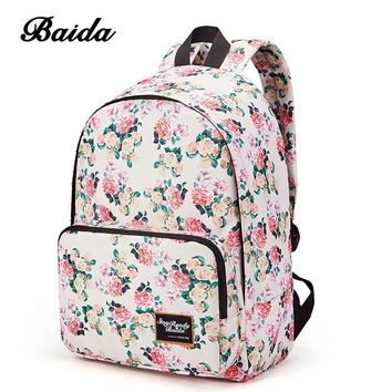 BAIDA Brand Fashion Floral Print Backpack School Book Bags Yellow and Pink Rose Flower Backpacks for Teen Girls High School