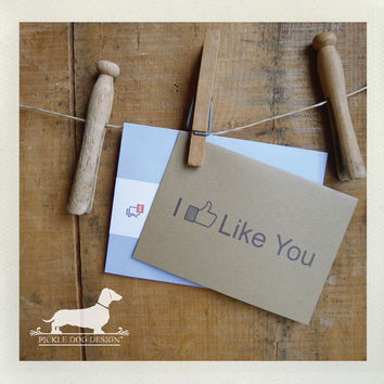 FUNNY VALENTINE CARDS  Facebook Addict Note by PickleDogDesign