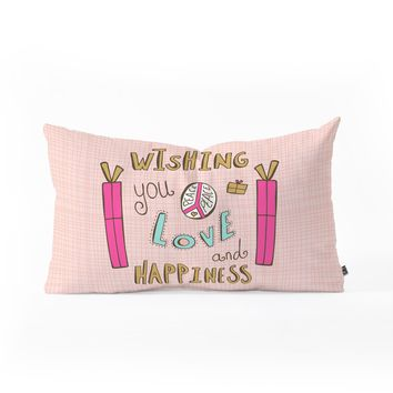 Heather Dutton Peace Love And Happiness Oblong Throw Pillow
