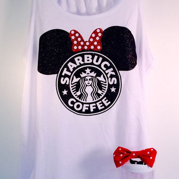 Minnie Starbucks Glitter Top. Baby - Adult Tanks Disney Trip Disneyland Monogram Cruise or Disney Bridal Shower!