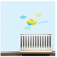 Airplane Monogram with CloudsVinyl Wall Decal by Modernwalls