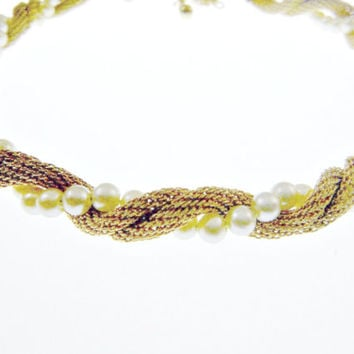 Trifari Mesh Necklace and Bracelet Set with Pearls Signed
