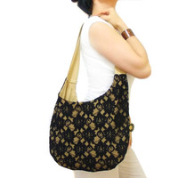 Black Hobo Bag, Hobo Tote Bag, Lace Hobo Purse, Messenger Shoulder Bag Purse, Canvas Tote Bag, Lace Bag, iPad Tote Bag, black and tan