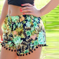 Waist Floral Short Girl   Casual Gym Shorts