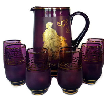 Vintage Purple, Gold, Blown Glass Pitcher, Tumblers, Juice or Cocktail Set