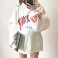 Thrasher Autumn Winter Trending Casual Hip-Hop BF Style Embroidery Letter Flame Loose Long Sleeve Hoodie Top Sweater White