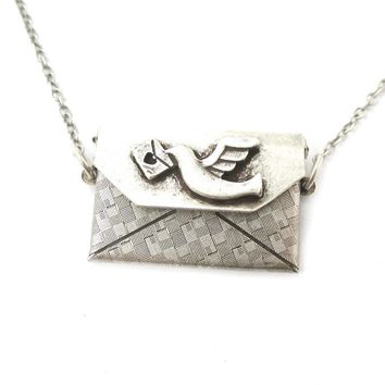 I Love You Letter Envelope Shaped Pendant Necklace in Silver | DOTOLY