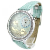 ZLYC Women Girls Mint Green Polymer Clay Carriage Pu Leather Strap Causal Wrist Watch
