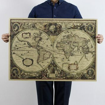 Free shipping,1641 old Nautical chart world map earth map 72.5x51.5cm/kraft paper/bar poster/Retro Poster/decorative painting